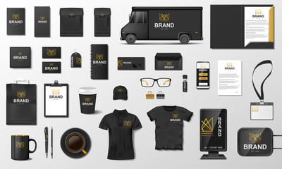 Corporate Branding identity template design. Modern Stationery mockup black and gold color. Business style stationery and documentation. Vector illustration