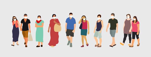 People wearing virus protection masks. Coronavirus prevention vector illustration.