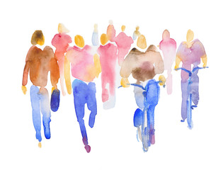 Color spot with watercolors in the form of a group of people. Hand-drawn watercolor illustration: silhouettes of a group of people in full growth. Crowd