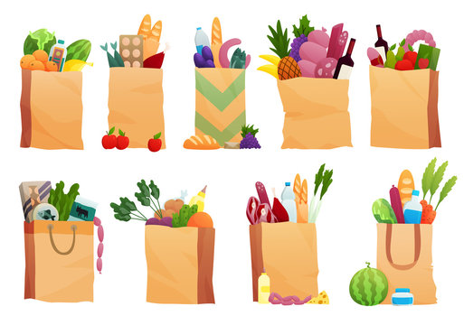 Set of paper bag with Fresh Food - vector illustration in flat style. Different food and beverage products, grocery shopping. Fruits, vegetables, ham, cheese, bread, milk