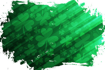 Clovers or shamrocks green brush stroke background for Saint Patrick's Day greetings, Irish national holiday. Vector illustration.