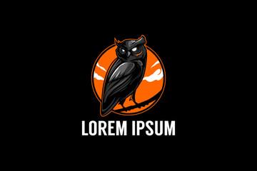 owl bird animal cartoon character vector logo template