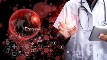 Novel Coronavirus, China map, arrows, Doctor using hologram  modern virtual screen interface,  Medicine and healthcare concept.