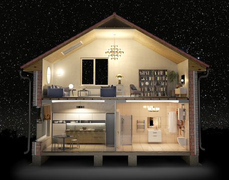 Cross section of house full of light in the night, 3d illustration