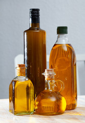 Various kinds of olive oil on the table