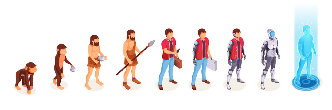 Human evolution of man from ape monkey to digital world technology, life development process vector icons. People evolution from caveman primitives to modern life and to cyborg artificial intelligence