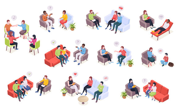 People at psychotherapy session, psychologist counseling for family couples and kids, vector isometric design. Psychologist doctor and patients in couch at psychology therapy talking about problems