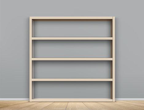 Wooden empty bookshelf in the room. Shelves cabinet