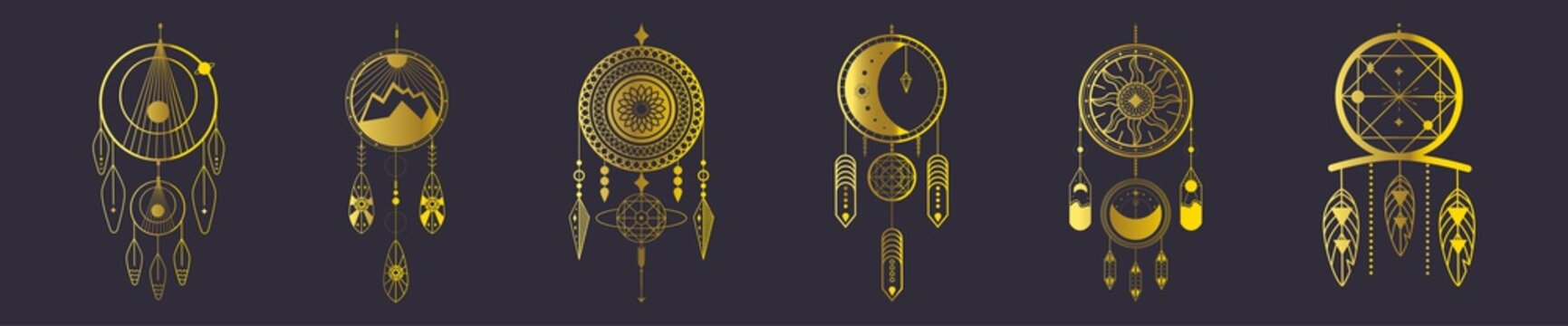 Vector set of dream hunters on a black background. Golden abstract elements.