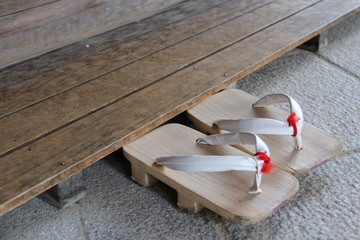 High Angle View Of Wooden Footwear Wall mural