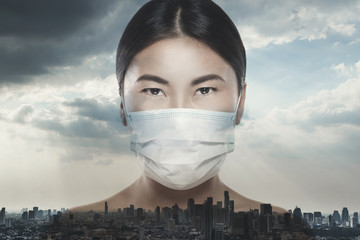 Asian woman is wearing facial mask during virus epidemic