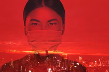 Asian woman is wearing facial mask during virus epidemic