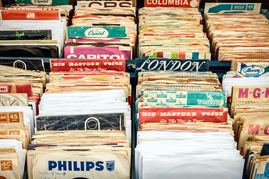 Crates with vinyl turntable records on a flee market in Den Bosch on May 10, 2015