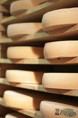 stack of refining Comte cheese wheels on wood shelves, France