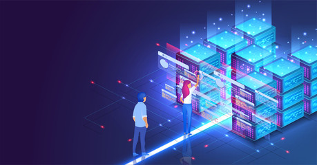 Isometric concept a young woman and man creates a custom design datacenter or blockchain background.Hosting server. UI UX design. Network mainframe infrastructure website layout. Landing page template Wall mural