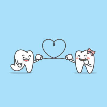 Tooth boy talk with tooth girl together by can phone and string shape like a heart illustration character vector design on blue background. Dental concept.
