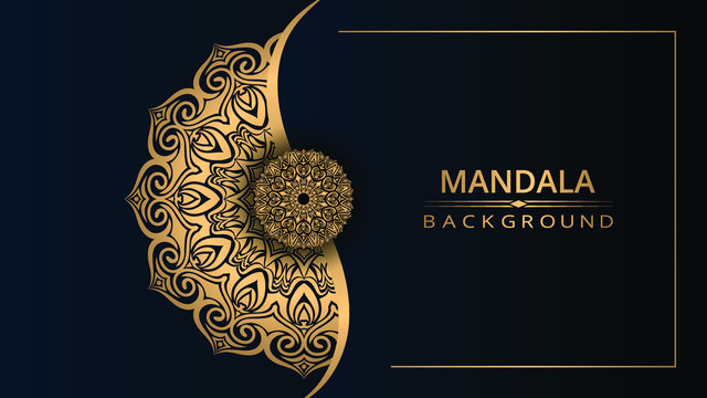 Luxury ornamental mandala design background with gold color