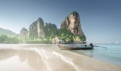 Fotomurales - boats on Railay beach in Krabi Thailand