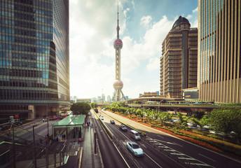 Fototapete - road in Shanghai Lujiazui financial center, China