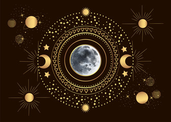 Vector illustration of moon in the center of the solar system, among the sun and planets in vintage engraving style.