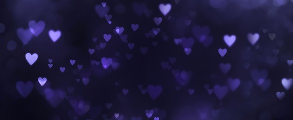 Fototapete - Abstract dark bokeh background banner with hearts - birthday, father's day, valentine's day panorama