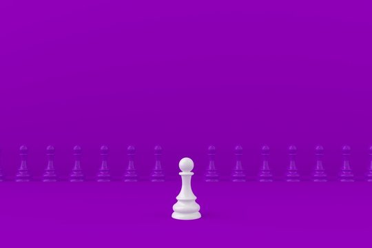 White and purple chess pawn on purple background, Business leadership, Teamwork power and confidence concept, 3d rendering