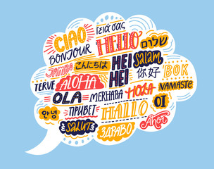 Hello in different languages. Speech bubble cloud with handwritten words. French bonjur, spanish hola, japanese konnichiwa, chinese nihao, indian namaste, korean annyeong. Concept illustration of