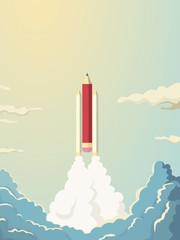 Creativity vector concept with pencil space shuttle launch into space. Symbol of innovation, invention, new business.