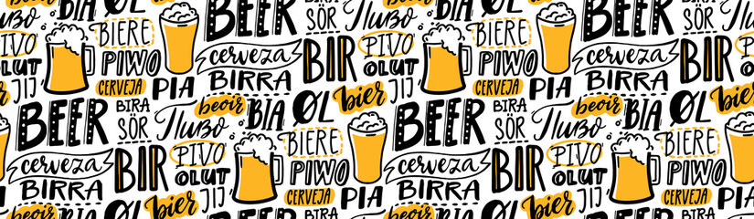 Beer text pattern. Word beer in different languages. Italian birra, spanish cerveza, macedonian pivo, german bier. Hand lettering seamless texture for pubs, menu and placemats. Fototapete