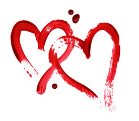 Two red hearts painted with a brush