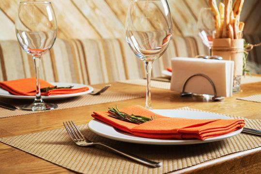 table set for meal, family restaurant