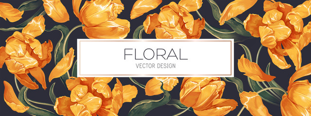 Spring floral vector background design for banner or flyer with yellow tulips flowers, petals and leaves. Realistic style, hand drawn, vector. Can be used as advertising banner cover in social network