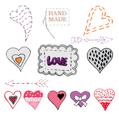 Set of hand drawn sketch of  sewing hearts, bows, arrows and label. Color elements isolated on white background. Symbols for decorate card, banner or label. For Hand made work or Happy Valentine's Day