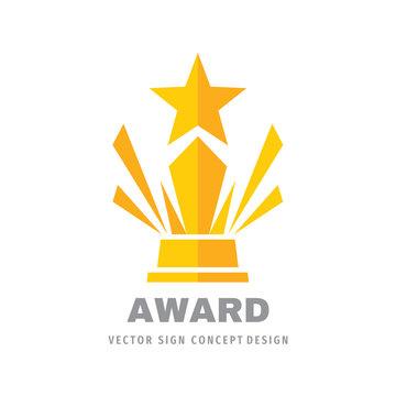 Award winner prize cup logo design. Star rating logo icon.