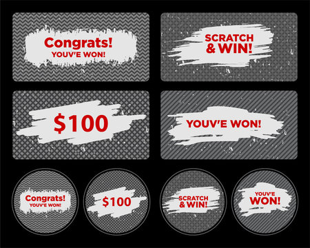 Vector Set of Scratch & Win Card/ Lottery Ticket/ Scratch Torn Marks Effect. Suitable for Scratch Card Games or Lottery Concept.