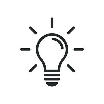 Light bulb icon. Idea innovation symbol. Creative logo. Black outline silhouette. Isolated on white background. Vector illustration image.