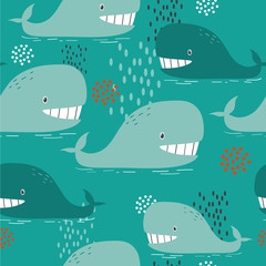 Happy whales, hand drawn seamless pattern. Marine background vector. Colorful illustration, overlapping backdrop. Decorative cute wallpaper, good for printing