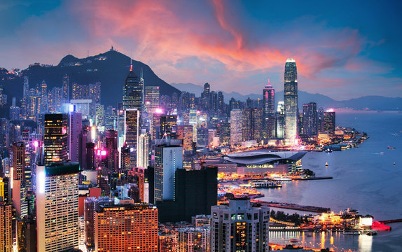 Hong Kong - Victoria harbour at sunset