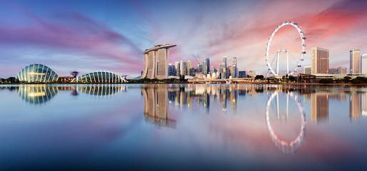 Wall Mural - Singapore skyline panorama at sunrise - Marina bay with skyscrapers