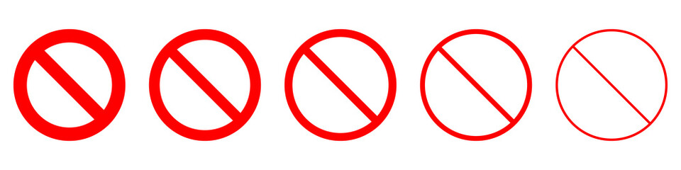 Set of prohibition sign. Stop symbol. Red ban icon