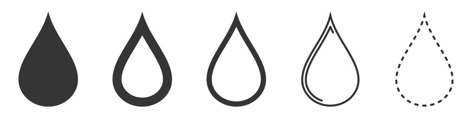 Water Drop vector icons. Set of drops symbols
