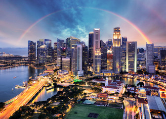 Fotomurales - Singapore cityscape with rainbow, Asia