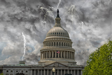Wall Mural - lightning on Washington DC Capitol dome view from the mall