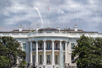 Fototapete - lightning on White House in Washington DC
