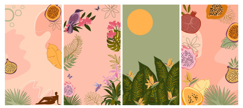 Set of various abstract vertical background for mobile app and social media content with fruit, abstract shape, tropical plant and female body silhouette in minimalistic style. Vector illustration