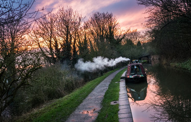 Canal Boat At Dusk