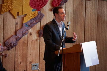Gabe Layman, chair of the Alaska Census, speaks at the 2020 Census kickoff held at the Alaska Native Heritage Center in Anchorage