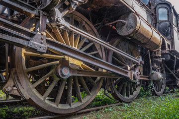 Drive train from an old steam locomotive