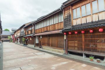 Fototapete - Historical street at Higashichaya district, Kanazawa, Japan