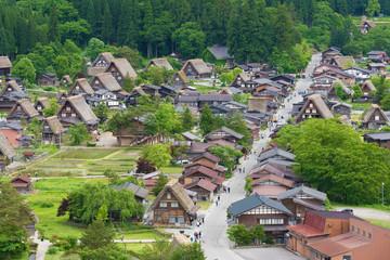 Fototapete - idyllic landscape of historical village of Shirakawa-go in Japan